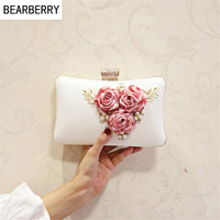 BEARBERRY 2017 Hot Sales Women Handmade Evening Clutch Bags Flowers Party Bags With Chain Wedding Dinner