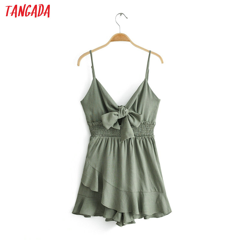 Tangada women stylish solid playsuits bow v neck elastic waist design spaghetti strap female summer sexy   jumpsuits   6C37