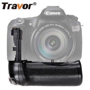 Image 2 - Travor, soporte vertical de batería para Canon 60D 60Da, reemplazo para cámara DSLR BG E9 + 2 uds., batería de LP E6 + 2 uds, paño para lente
