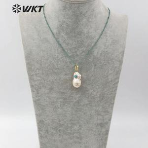 Image 5 - WT JN091  WKT Special Design Multi optional Colors Crystal Necklace With Baroque Pearl Pendant Gift For Women with charms