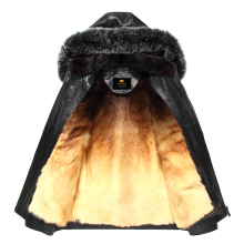 SHABAO Factory direct delivery 100% natural sheepskin Genuine Leather coat cold Hood