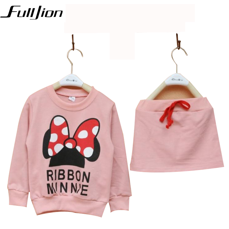 Cute Toddler Girl Clothing Sets Kids 2016 Spring Chidren Minnie Clothes Cartoon T shirt Skirt 2pcs set Tracksuits Hoodies +Pants 2015 new girl minnie mouse suit cartoon leisure 2pcs children lovely dot sports sets long sleeved cute bow toddler kids clothes