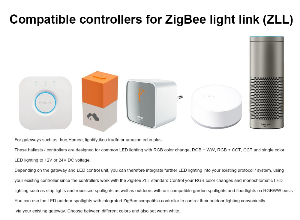 Zigbee Hub Led Controller Bridge Rgbcct Rgbw Wwcw Led Tape Controller Dc12v 24v Led Strip Zll Switch Controller Echo Plus Alexa Rgb Controlers Aliexpress