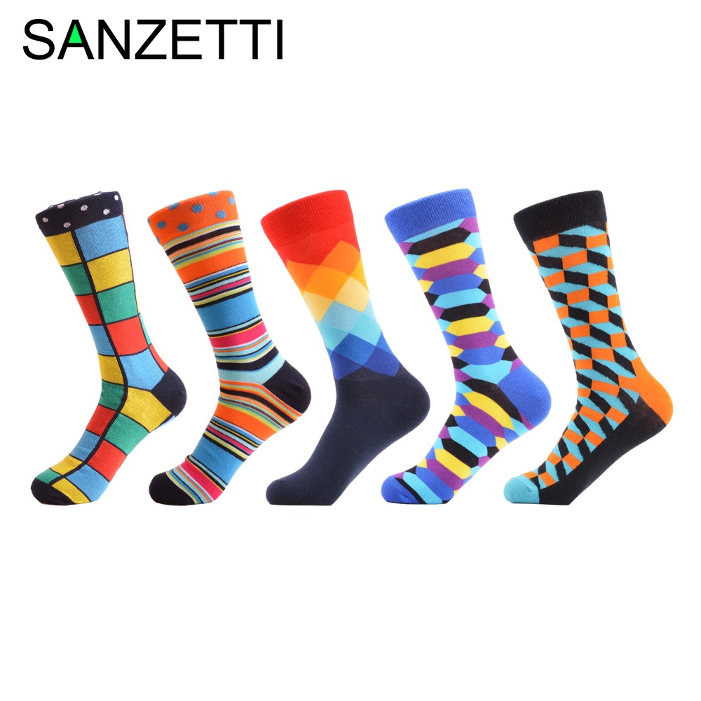 SANZETTI 5 Pairs/lot Men's Combed Cotton Socks Comfortable Colorful Wedding Socks Breathable Cool Casual Dress Business Socks