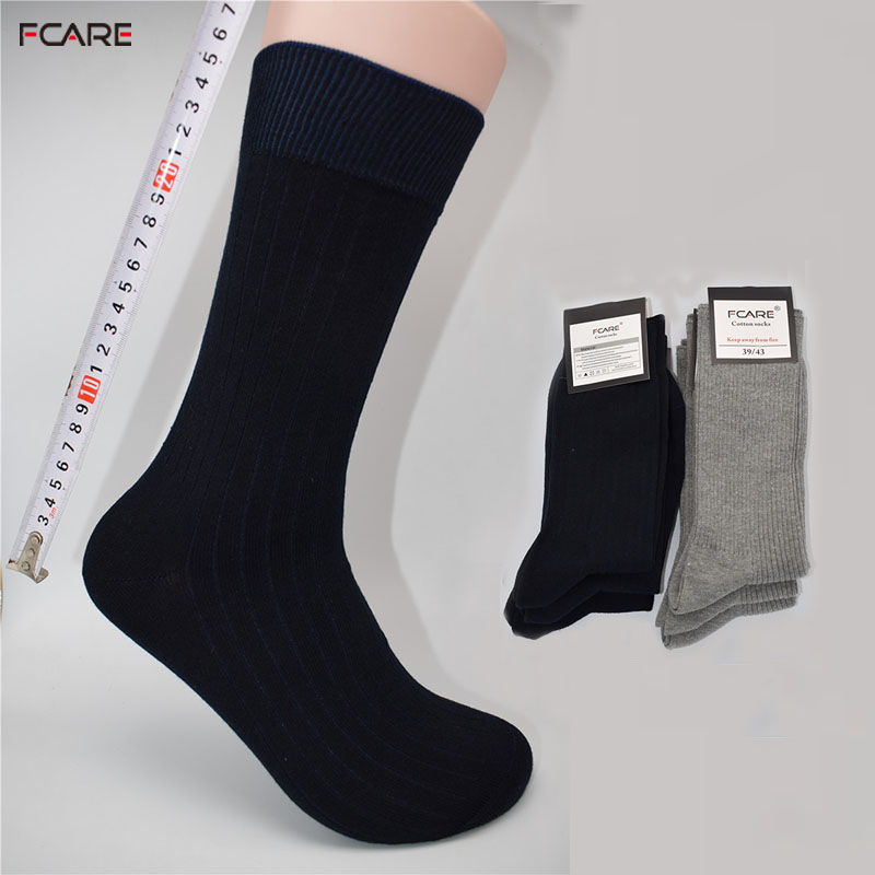 Fcare 10PCS=5 pairs 39, 40, 41, 42, 43 calzini lunghi uomo blue gray men dress double needle business long leg socks calcetines