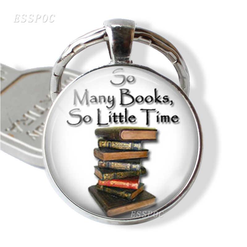 """الكتب والمكتبة المفاتيح """"الكثير من الكتب ، القليل جدا من الوقت"""" يقتبس الزجاج كابوشون قلادة المرأة خاتم هدايا مجوهرات أنيقة لصديق"""