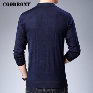Image 3 - Coodrony 브랜드 스웨터 남성 니트웨어 당겨 옴므 턴 다운 칼라 풀오버 셔츠 남자 가을 겨울 따뜻한 면화 스웨터 91040