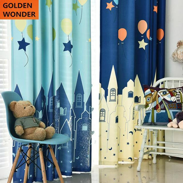 Cute Children Cartoon Environmental Cotton Curtain Boy Bedroom Curtains For  Living Room Kids Room Curtains Castle