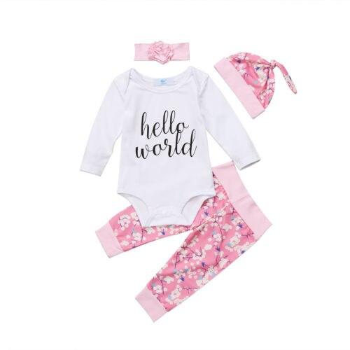 8a3882b3e 4PCS Newborn Baby Girl Clothes Hello World Tops Romper+Floral Long ...