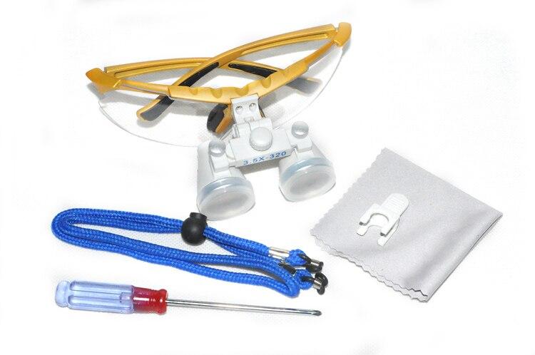 Hohe Qualität 100% Neuer Zahnarzt Silber Dental Surgical Medical Binocular Lupen 3,5X320mm Optisches Glas Lupe + Fall