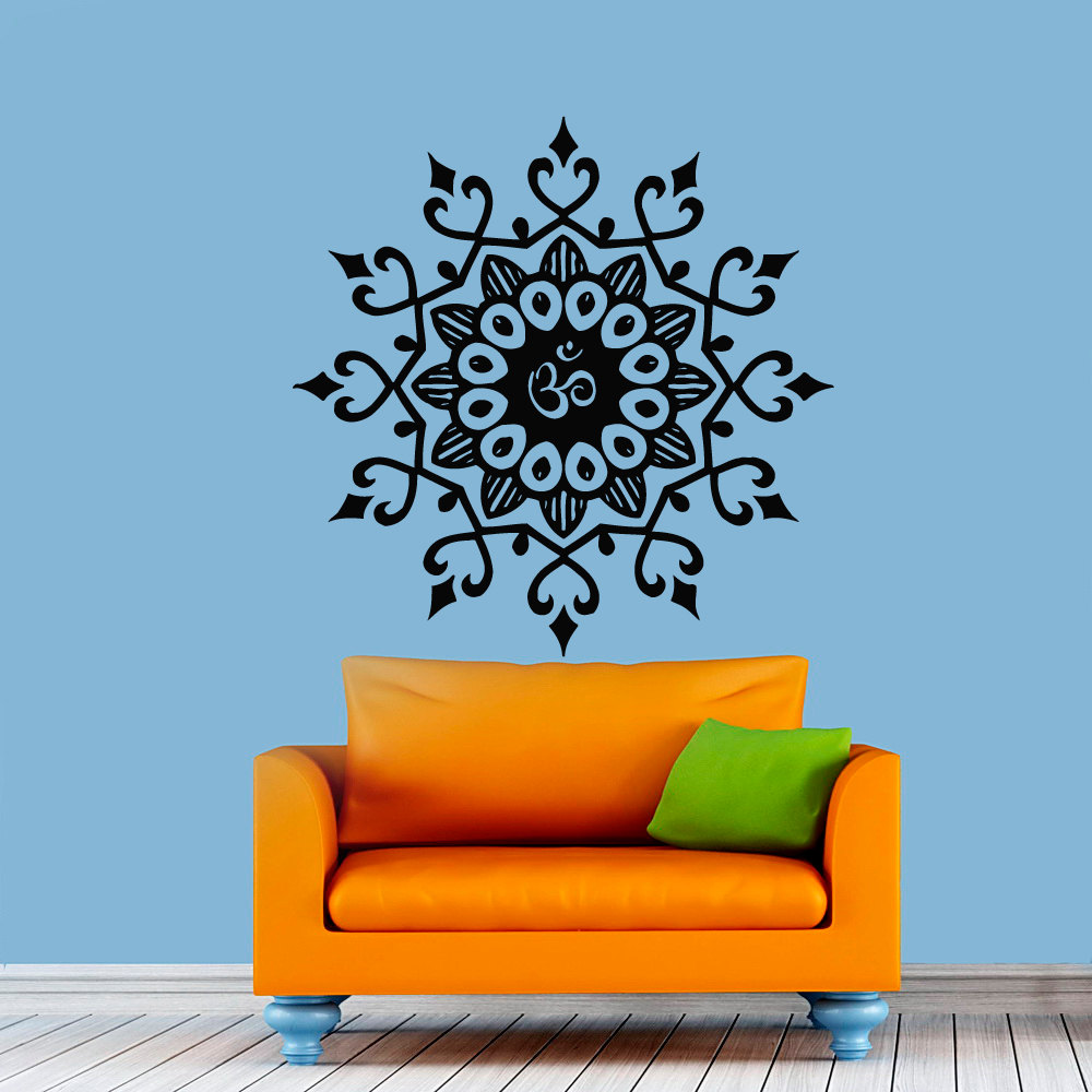 DCTOP Popular Indian Pattern Wall Decor Sticker Om Symbol Mandala Flower Wall Decals For Living Room