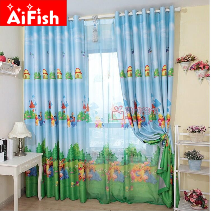 Blue American Style Cartoon Character Bear Curtains For