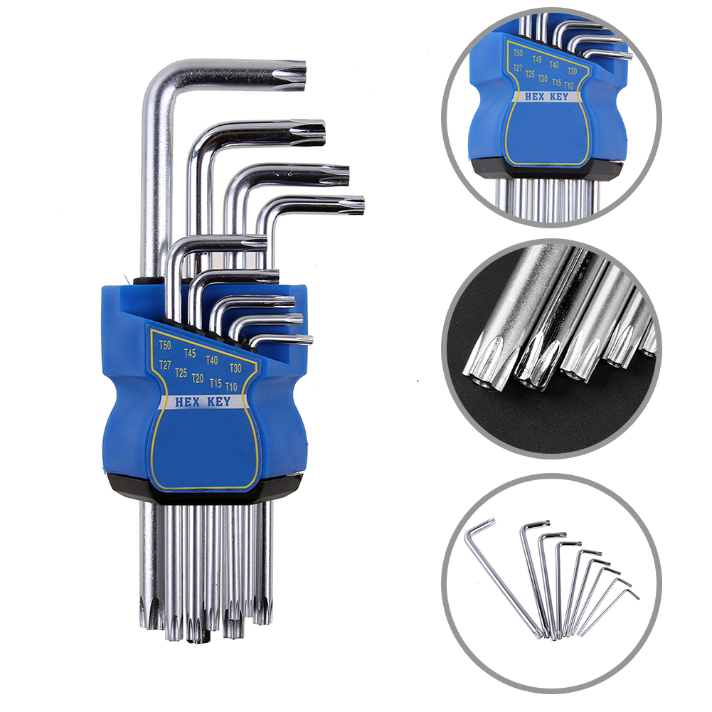 9pcs/Set L-type T10-T50 Double Ended Hex Socket Wrench Key Allen Wrench Set Multifuctional Inner Hexagon Spanner Repair Tools