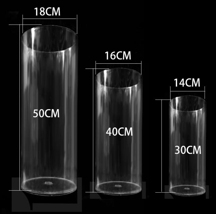 Wholesale 4 Pieces Round Clear Acrylic Cylinder Vase For