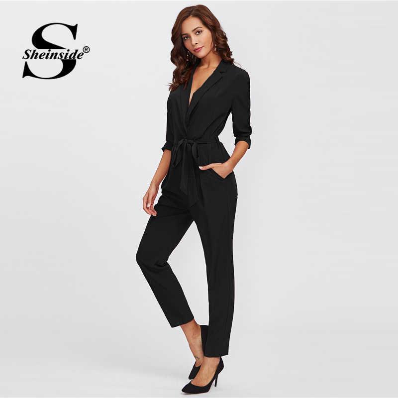 ea102c836a8 Sheinside Plain Black Office Ladies Workwear Jumpsuit Wrap And Tie Detail  Tailored Long Sleeve Pockets Women