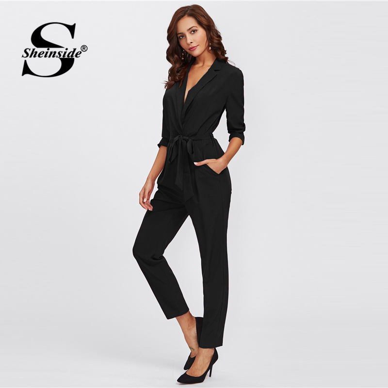 Sheinside Plain Black Office Ladies Workwear Jumpsuit Wrap And Tie Detail Tailored Long Sleeve Pockets Women Elegant Jumpsuit