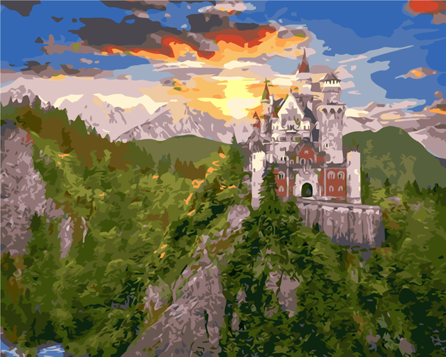 Pintura al óleo diy by números castillo en la colina sin marco ...