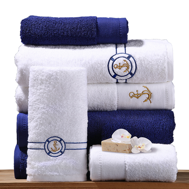 Five Star Resort Hotel Towel Cotton Thickened Washrag Absorbent Blue White High Quality 180g