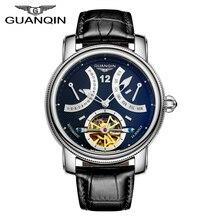 Люксовый Бренд GUANQIN 2017 Мода Tourbillon Часы Мужчины Золотые Наручные Часы автоматические Механические Часы Класса Люкс