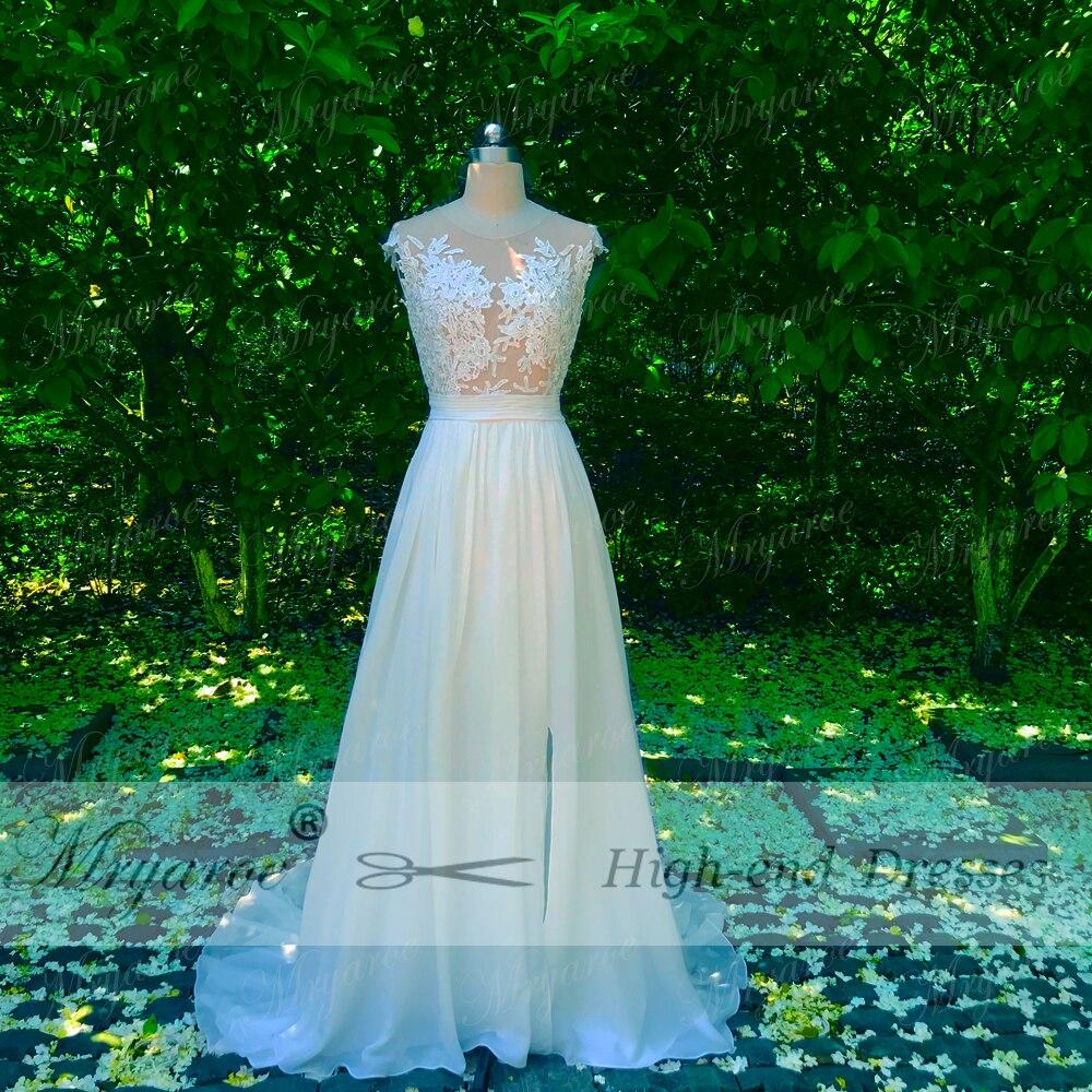 Mryarce Beach Wedding Dress 2018 Sheer Bodice Lace Appliqued Flowing ...