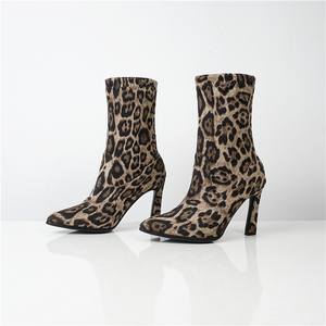 Image 4 - WETKISS ストレッチヒョウブーツ女性のセクシーなミッドふくらはぎブーツ冬の靴女性のハイヒールの靴レディースポインテッド弾性靴