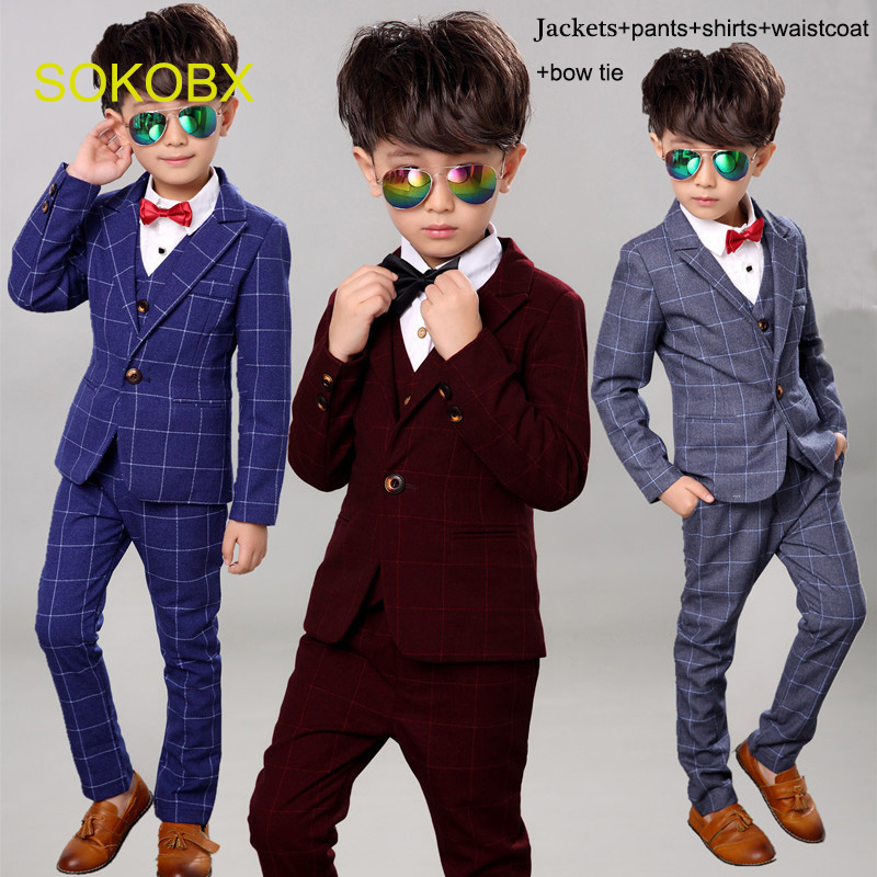 SOKOBX Boys Black Blazer 5 pcs/set Wedding Suits for Boy Formal Dress Suit Boys 2edding Suit Kid Tuxedos Page Boy Outfits 5piece solid color pocket sexy spaghetti strap maxi dress for women page 4 page 5 href