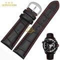 Ремешок для часов из натуральной кожи  ремешок из воловьей кожи с красной строчкой  18  19  20  21  22  23  24 мм  наручные часы