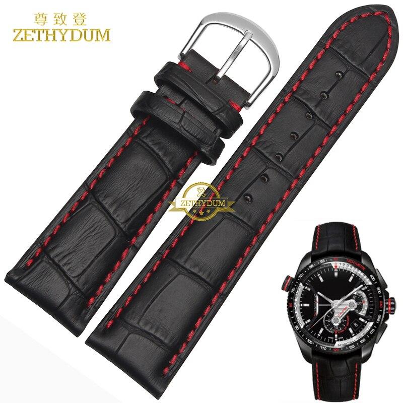 Pulseira Pulseira de couro genuíno cabeça camada do couro costura Vermelha 18 19 20 21 22 23 24mm pulseira de relógio relógios de pulso banda