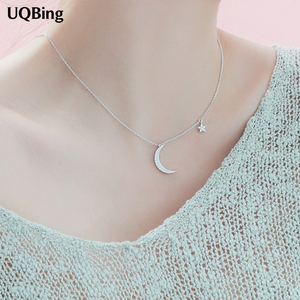 Korea 925 Sterling Silver Moon Star Necklaces&Pendants Silver Chain Choker Necklaces Jewelry Collar Colar Free Shipping(China)