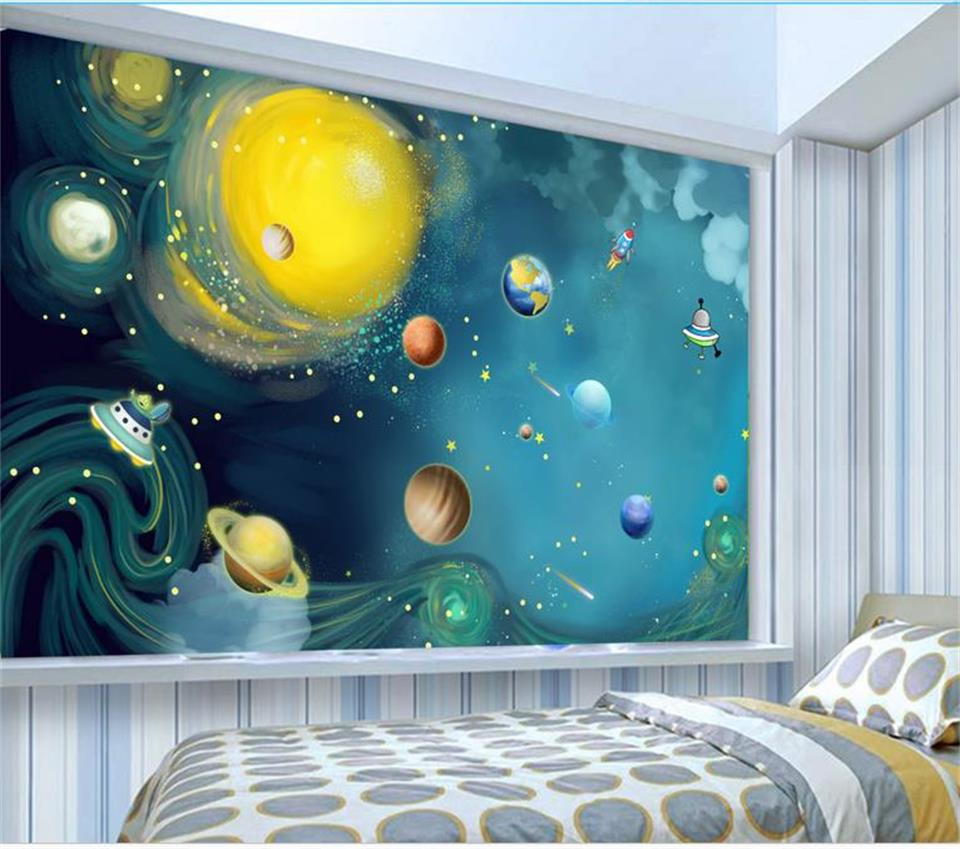 custom 3d photo wallpaper mural hand-painted space universe 3d picture kids room background wall non-woven wallpaper for wall 3d 3d wallpaper custom mural non woven wall sticker black and white wood road snow tv setting wall painting photo wallpaper for 3d