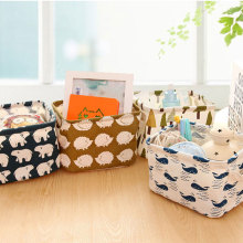 Multifunction Linen Desk Makeup Cosmetic Storage Box Container Case For Toys Clothing Stationery Office Home Organizer