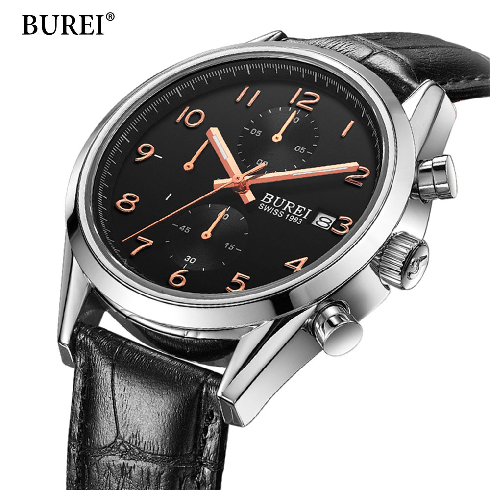Fashion Chronograph Sports Watches Men Waterproof 30m Genuine Leather Quartz Watch Luxury Brand BUREI DESIGN Relogio Masculino jargar jag6905m3s1 new men automatic fashion dress watch silver color wristwatch with black leather band free shipping