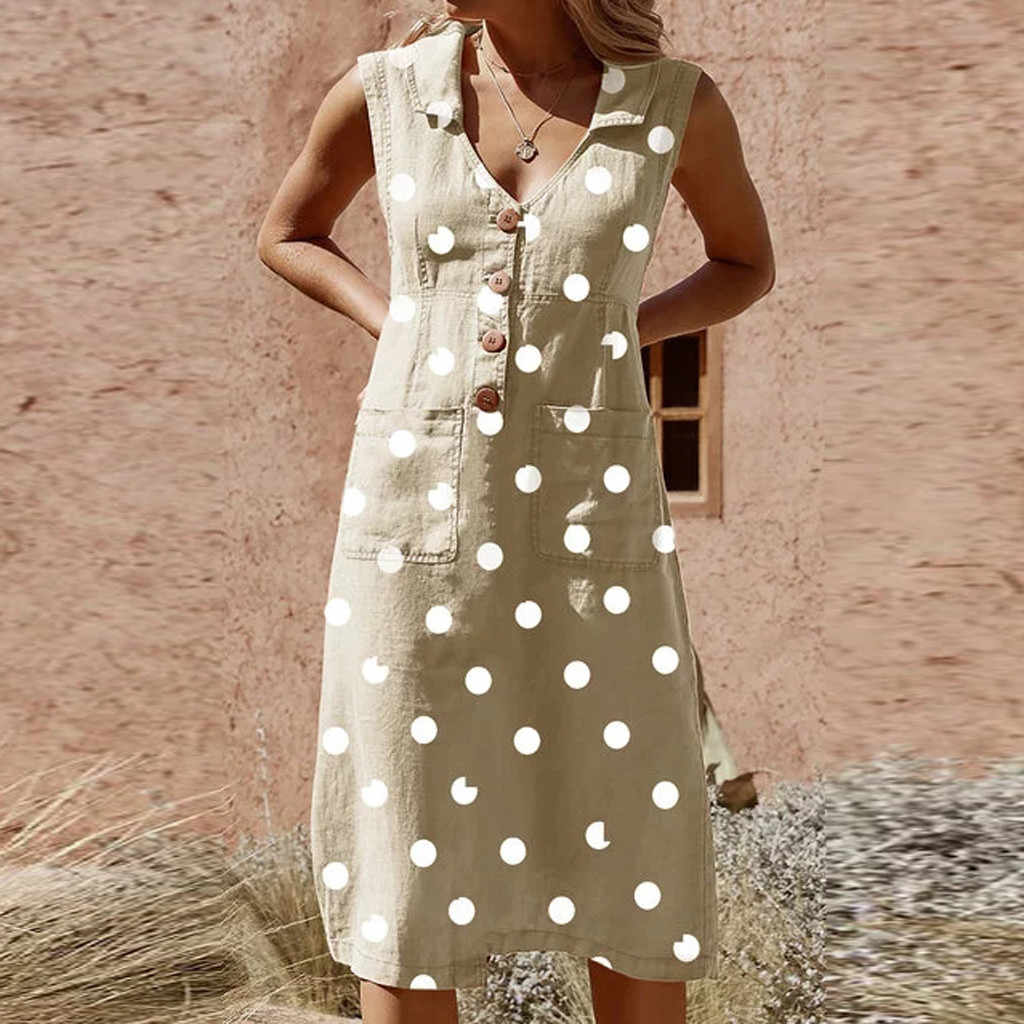 & 35 Jurk Voor Vrouwen Elegante Dot Print Boho Dress Vadim Gothic Turn-Down V-hals Jurk Knop Pocket Jurken vrouw Party Night