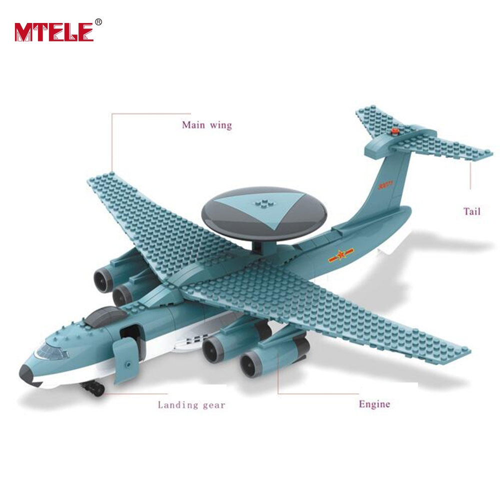 MTELE Brand Early warning aircraft Building Blocks Model Kits Compatible With lego 004 For Kids Toy High Quality набор коронок bosch 22 68 мм 11 предметов