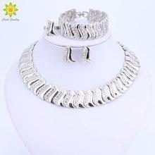 Mode exquis Dubai ensemble de bijoux de luxe couleur argent grand mariage nigérian perles africaines conception de bijoux ensemble de bijoux