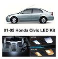 Бесплатная Доставка 6 Шт./лот Ксеноновые Белый Комплект Комплект СВЕТОДИОДНЫХ Внутреннее Освещение Для Honda Civic 2001-2005