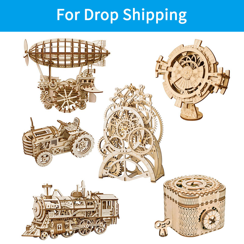 For Drop Shipping ROKR DIY Mechanical Gear Drive Model 3D Wooden Puzzle Assembly Model Building Kit Toys For Children Adult