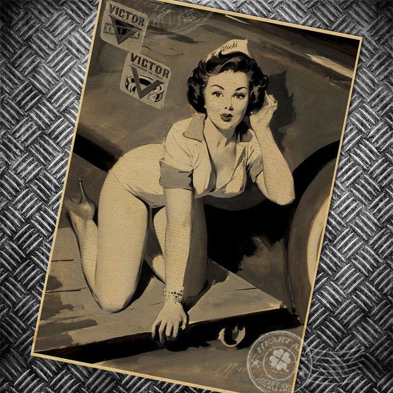 Vintage Sexy Lady filmový plakát nástěnná nálepka retro sulfátový papír bar kavárna nástěnná barva nálepka znamení obývací pokoj výzdoba 42x30cm URG 1