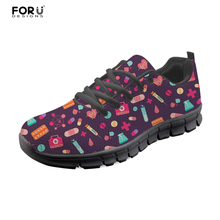 FORUDESIGNS Nursing Sneakers Women Cartoon Cute Nurse Pattern Comfortable Lace-up Ladies Flats Shoes Woman Casual Light Weight