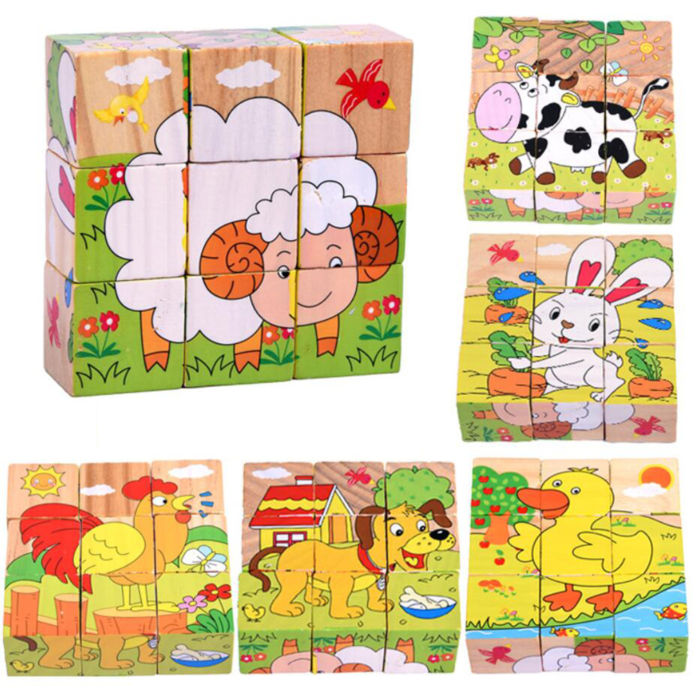 Six-face Picture Wooden Jigsaw 3D Puzzle Toys Children's Early Educational Toy Cube Jigsaw Puzzle Baby Kids Gifts
