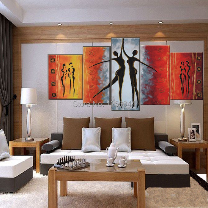 100% Hand painted Red Black Passion Color High Q. Home Decoration Modern Abstract Best selling Oil Painting on Canvas 4pcs/set - 3