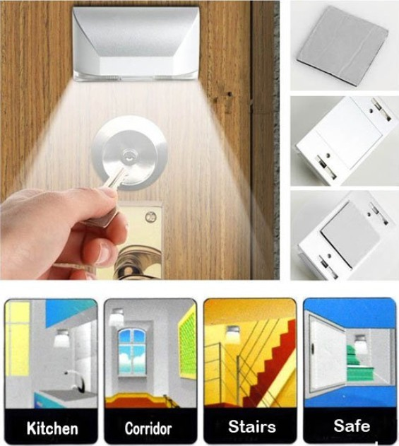 100pcs, New 4 LEDs PIR Auto Sensor Motion Detector Energy Saving Emergency light AA Battery