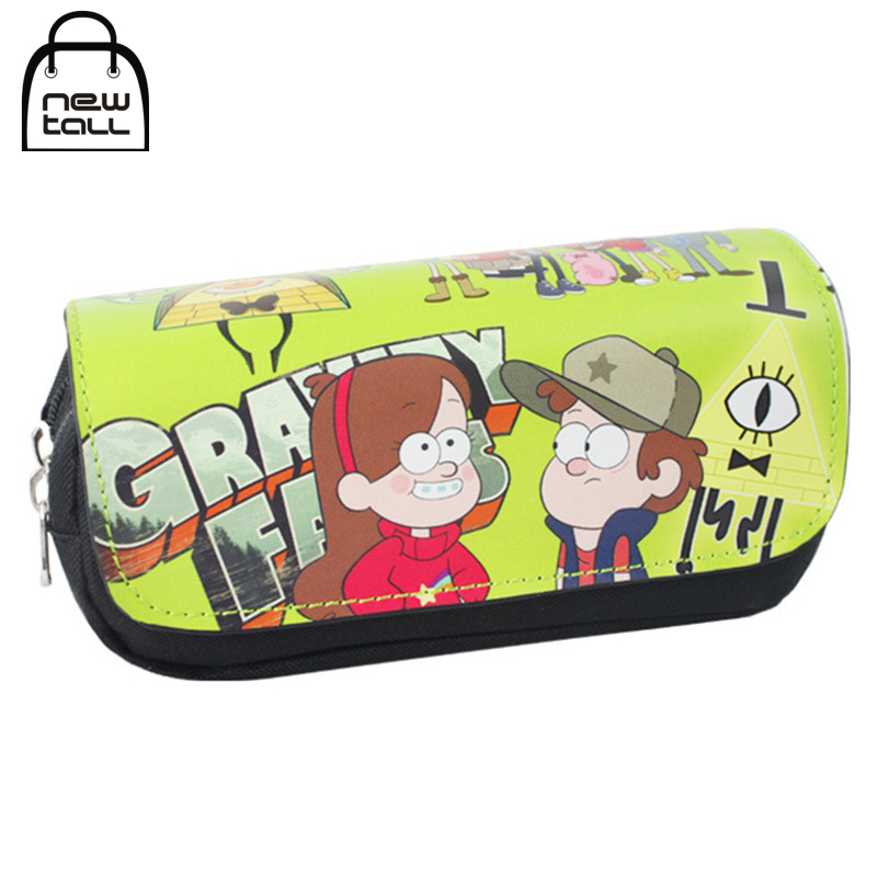 [NEWTALL] Gravity Falls Mabel Dipper Pines Pencil Case Large Capacity Organizer Magic Stick Cover Zipper Makeup Bag T1388 bubm cd holders receiving bags cover case cd trainborn organizer bag large capacity 80pcs dj package adapter big capacity