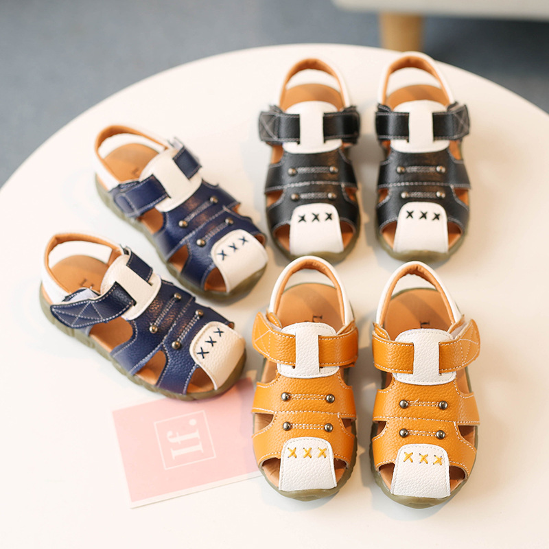 2018 Summer New Boys Sandals Baby Soft Sole Toddler Shoes Small Children Beach Sandals for Boy 1-2-3 Years Old