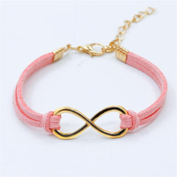 Hot European Cheap Punk Fashion Vintage Infinity 8 Cross Leather Bracelets For Women Gift Bangles