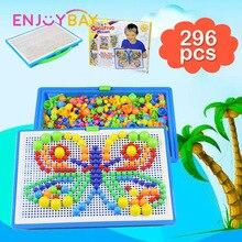 Enjoybay 296Pcs Mushroom Nail 3D Puzzle Toys Creative Mosaic Composite Button Art Picture Intellectual Puzzles Educational Toy