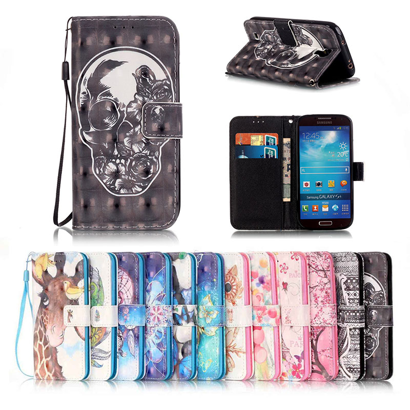 Hand Strap Leather Cases 3D Painting Magnetic Flip Card Slot Holster font b Mobile b font