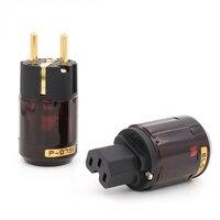 High Quality New Brand Brass P 079E Pure Copper C079 24k Gold Plated EU Power Plug