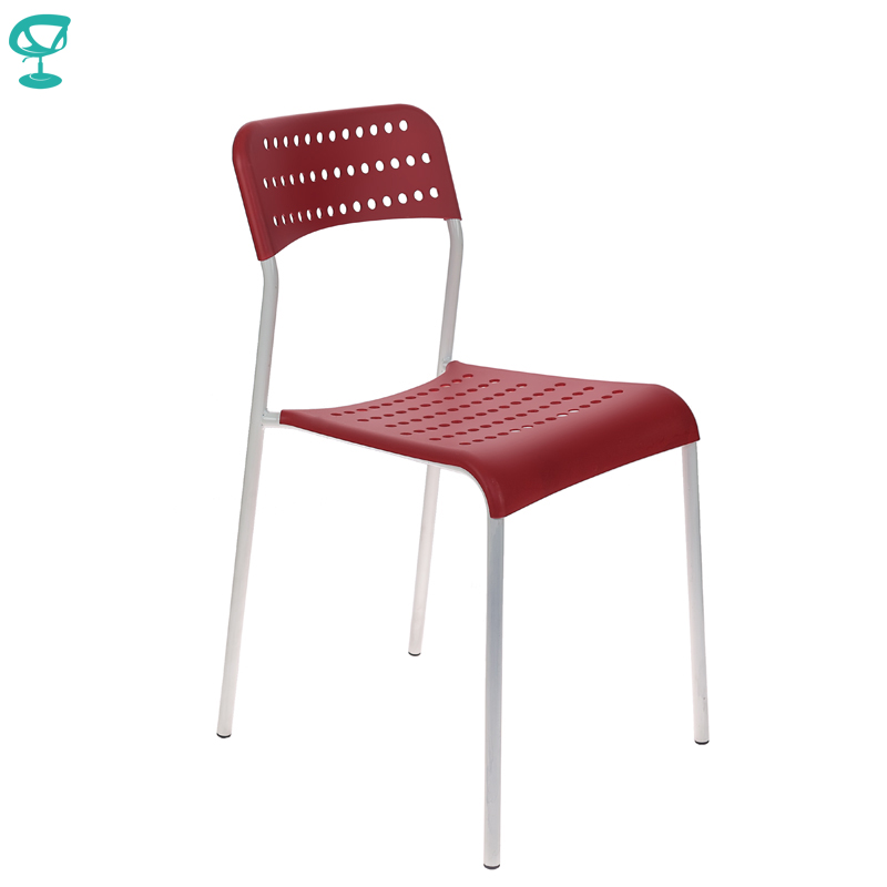 <font><b>2066</b></font> Barneo UNO Plastic on a metal base Kitchen Breakfast Stool outdoor Chair Kitchen Furniture Red free shipping in Russia image