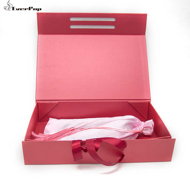 5 Colors Hair Paper Packaging Boxes For Bundles Wholesale Custom Logo Luxury Size 33x21.5x6.5cm with Ribbon Factory Outlet
